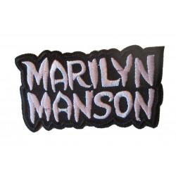patch groupe marylin manson noir blanc 8x4.5 cm ecusson thermocollant rock