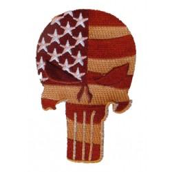 patch crane piunisher drapeau usa marron 9x6 cm ecusson thermocollant usa drapeau