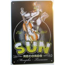 plaque logo sun record coq qui chante  tole métal pub affiche rockabilly