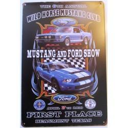 plaque ford mustang wild horse tole métal pub affiche voiture usa