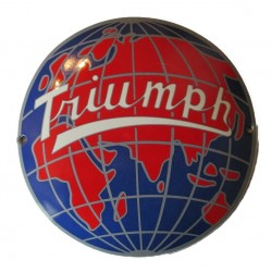 mini plaque emaillée triumph world monde planete moto tole email garage