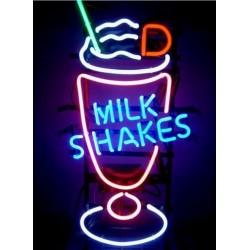 néon publicitaire milkshakes 67cm usa deco loft diner bar café