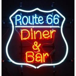néon publicitaire route 66 diner & bar 51cm usa deco loft  café