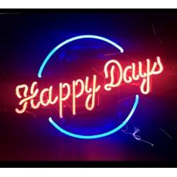 néon publicitaire happy days 45x60cm usa deco loft bar diner restaurant
