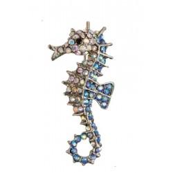 broche hippocampe strass bleu blanc pin up rockabilly retro