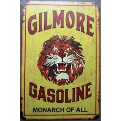 plaque gilmore gasoline lion sur fond jaune 30cm tole publicitaire metal pub