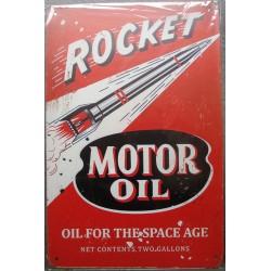 plaque rocket motor oil huile garage 30cm tole publicitaire metal pub
