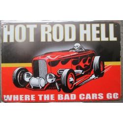 plaque hot rod hell cabriolet flammes 30cm tole publicitaire metal pub