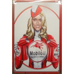 plaque pin up blonde mobiloil huile garage 30cm tole publicitaire metal pub