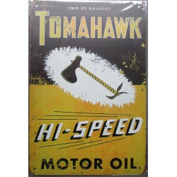plaque tomahawk motor oil huile garage 30cm tole publicitaire metal pub