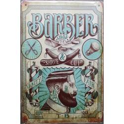 plaque barber bleu et biege style vielle affiche 30cm tole publicitaire metal pub