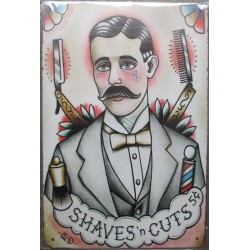 plaque barber shaves n cuts style tattoo old school 30cm tole publicitaire metal pub