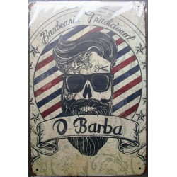 plaque barber barbearia traditional 30cm tole publicitaire metal pub