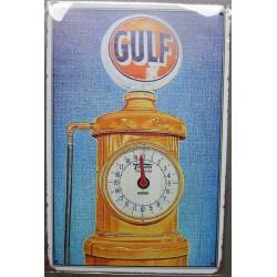 plaque  gulf vieille pompe à essence huile garage 30cm tole publicitaire metal pub