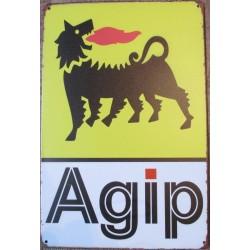 plaque tole  huile agip jaune chien a 6 pattes  aspect vieillit 30x20cm tole pub garage  diner loft