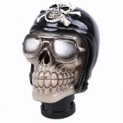levier de vitesse crane logo pirate noir et blanc tete de mort