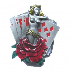 boucle de ceinture pin up blonde et carte à jouer rockabilly  homme femme