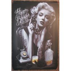 plaque marilyn monroe tatoué et bouteille d'alccol tole deco tatouage affiche