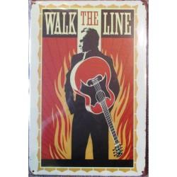 plaque johnny cash walk the line a flammes couleur orangétole 30x20 cm deco  affiche pub garage