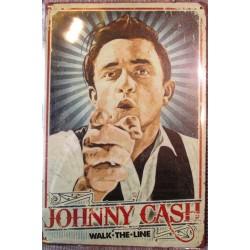plaque johnny cash walk the line 2 chemise blanche tole 30x20 cm deco  affiche pub musique