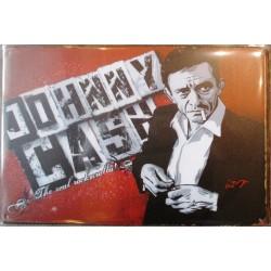 plaque johnny cash sur fond rouge real rock & roll e tole 30x20 cm deco  affiche pub musique