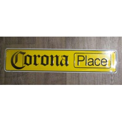 plaque de rue biere corona place emboutie jaune 61x13cm tole deco bar diner loft beer