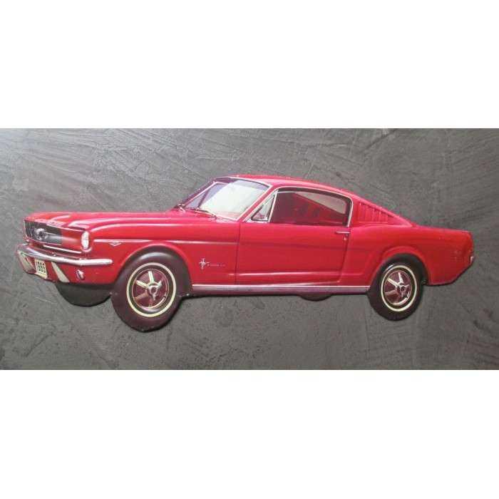 plaque ford mustang  1965 rouge découpée deco tole garage usa 53x20 cm