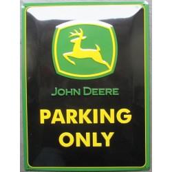 plaque john deere logo vertical noir et vert ferme relief 40cm tole pub affiche
