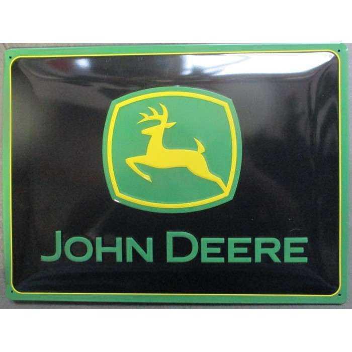 plaque john deere logo horizontal noir et vert ferme relief 40cm tole pub affiche